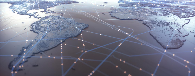 Mapa mundial que muestra conexiones satelitales
